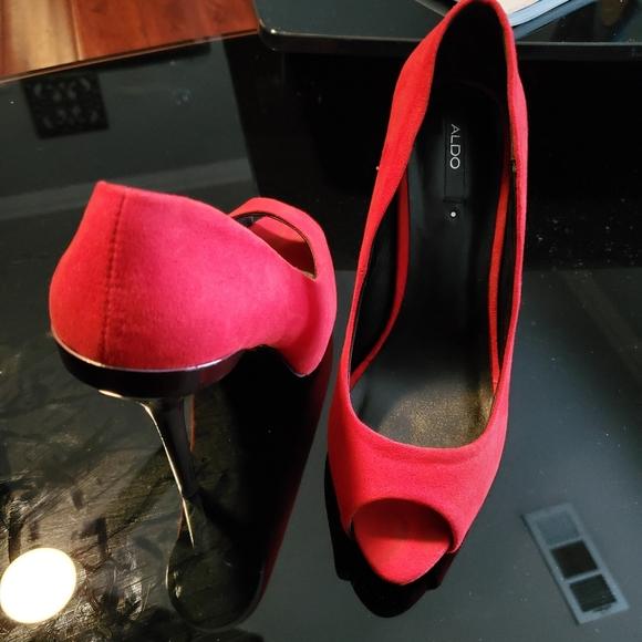 Aldo Shoes - Red Aldo Peep Toe